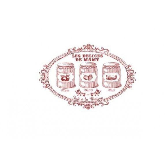 Tampon décoratif Chérie M :   Les délices de Mamy Pots de confiture, prune, framboise, poire Idéal pour le scrap 45mm x 65mm