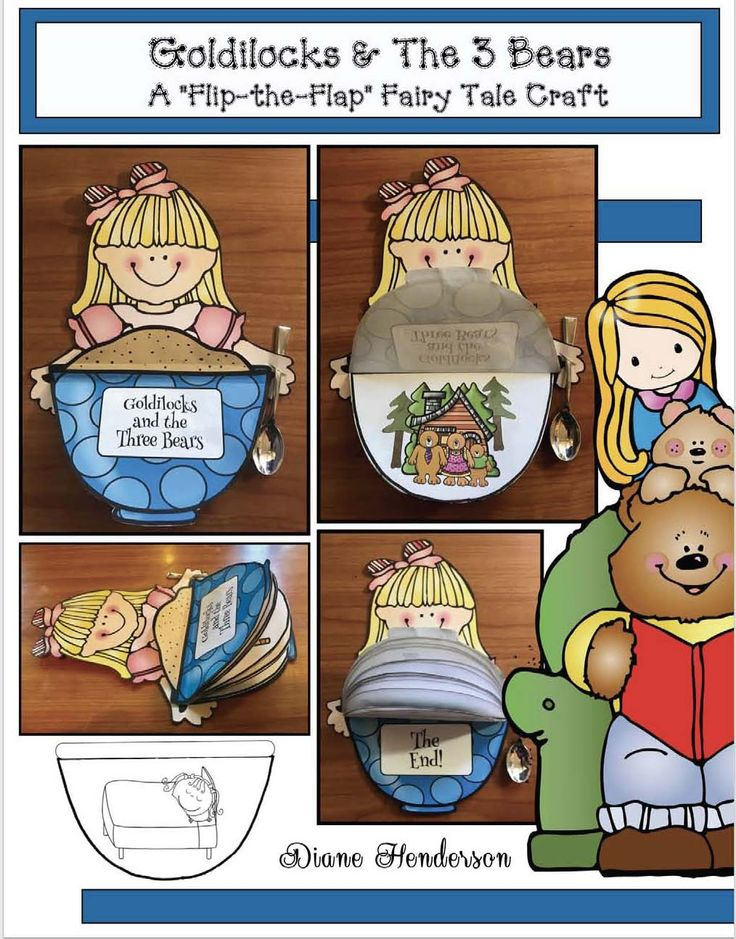 """Reading Activities: Cute """"flip the flap"""" retelling & sequencing a story craft for """"Goldilocks & the 3 Bears"""" fairy tale."""