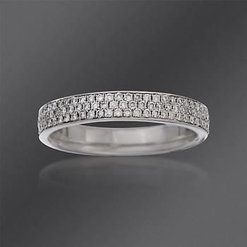 Three Row Pave Diamond Wedding Ring In White Gold