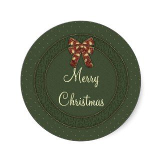 Merry Christmas Round Stickers