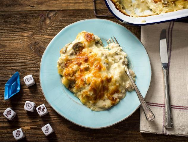Lasagne met champignon-roomsaus Een romige saus met onzichtbare bloemkool en geurige tijm