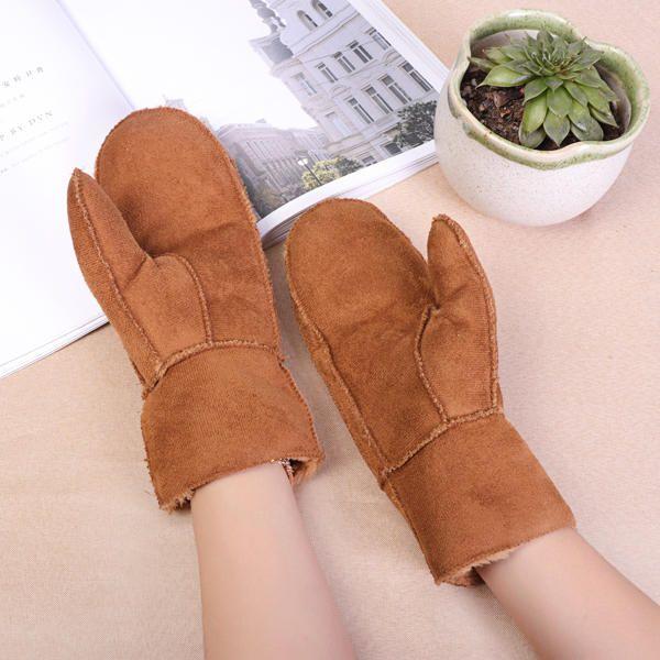 Women Outdoor Thick Fur Plush Warm Gloves at Banggood