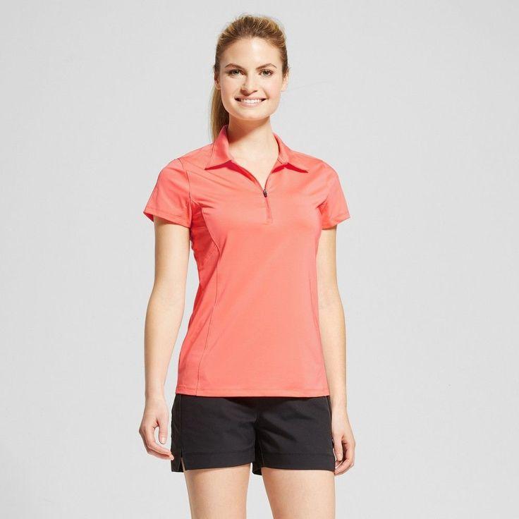 Women's Zip Up Golf Polo T-Shirt - Ripe Papaya Red Xxl - C9 Champion, Ripe Red