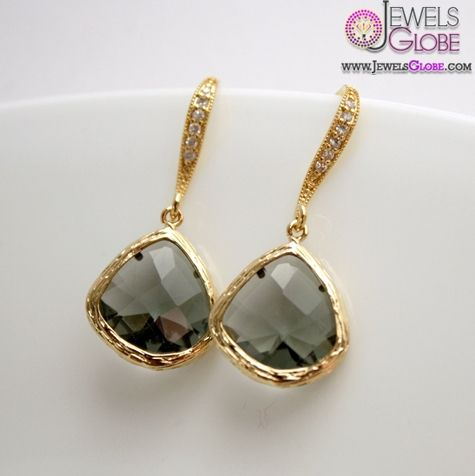 Gold Earrings Black Diamond Earrings Cubic Zirconia