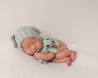 Baby Puppy Hat Boy Girl Hat Newborn Girl Dog Dog Hat Newborn Hat and Lovies Set Knit Baby Hat and Puppy set, Choose more colours