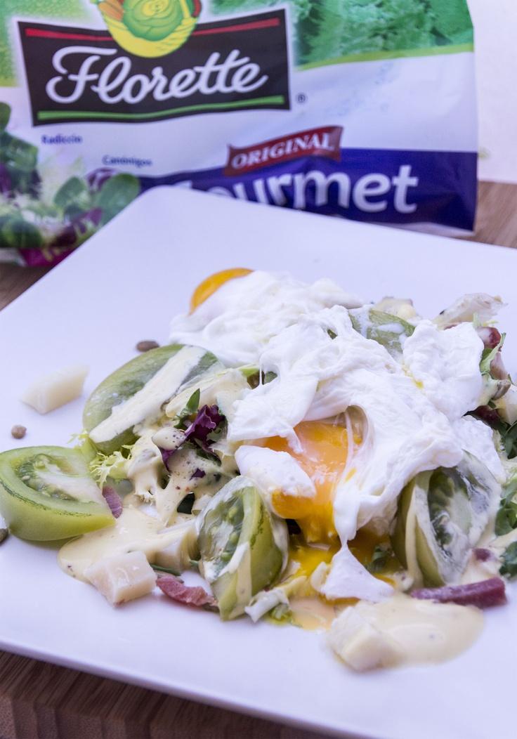 Ensalada con huevo poché for Florette