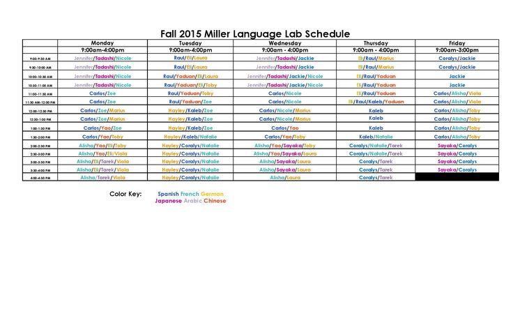 Fall 2015 Miller Language Lab Schedule