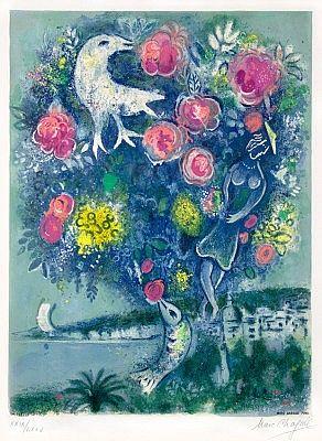 """Marc CHAGALL- """"La Baie des Anges au Bouquet de Roses"""",  à Nice - Côte d'Azur (1967)"""