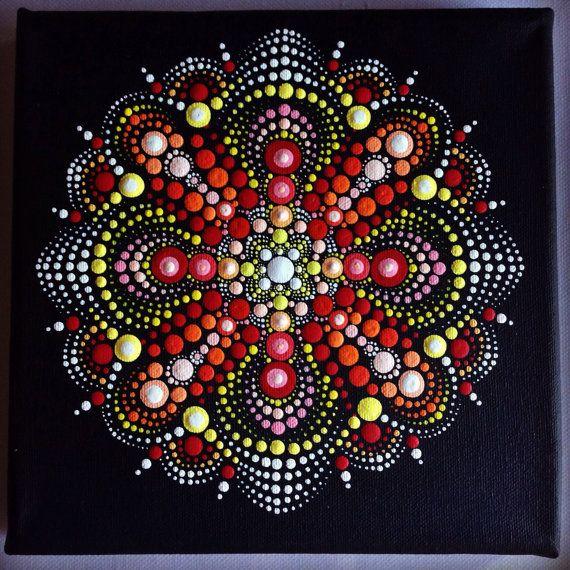 Original Dotart Red Mandala Painting on Black by CreateAndCherish