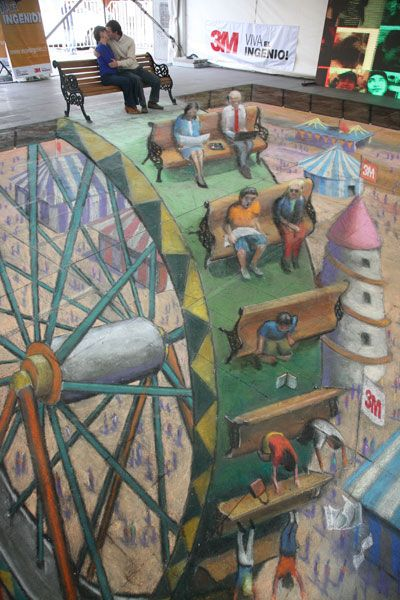 Huge chalk optical illusion turns ordinary bench into a seat on a deathly Ferris wheel