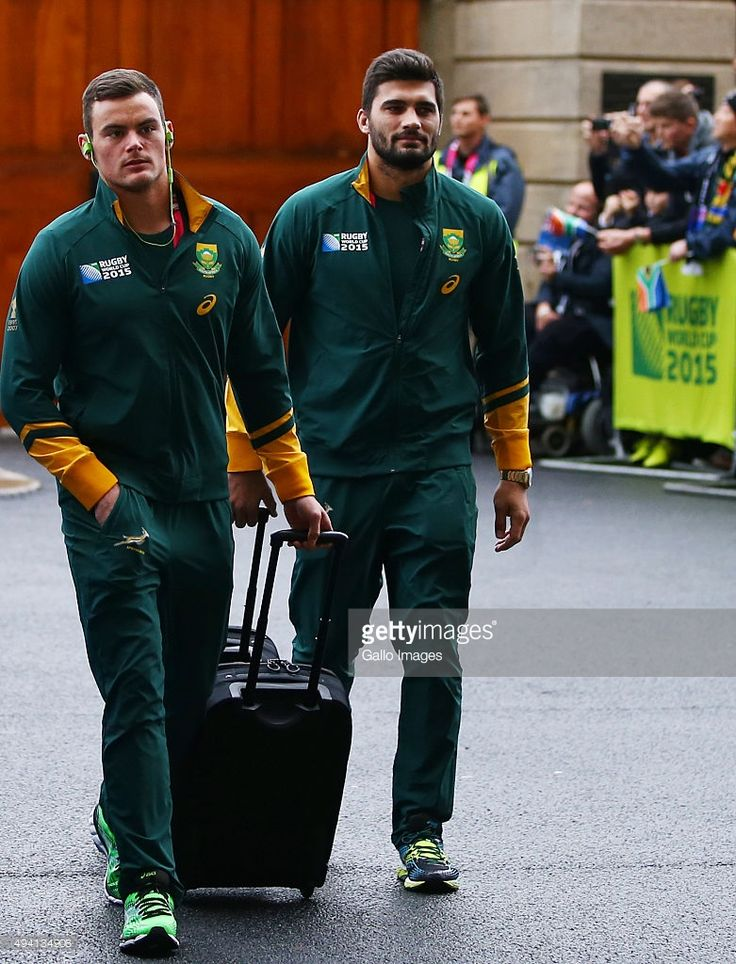 Jesse Kriel with Damian de Allende of South Africa during the Rugby World Cup Semi Final match between South Africa and New Zealand at Twickenham Stadium on October 24, 2015 in London, England.