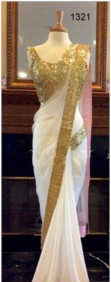 Designer Off White Georgette Saree Bollywood Sarees