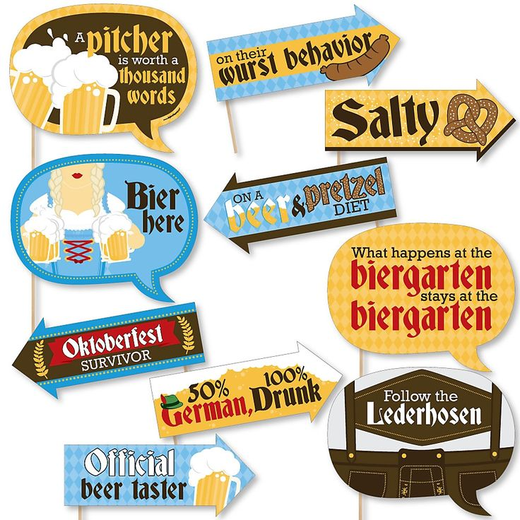 Funny Oktoberfest – German Beer Festival 10 Piece Photo Booth Props Kit
