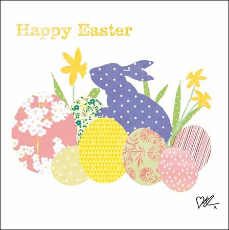 Bunny and eggs #Easter card by @kirstiemallsopp  for Cardmix, finished with glitter varnish