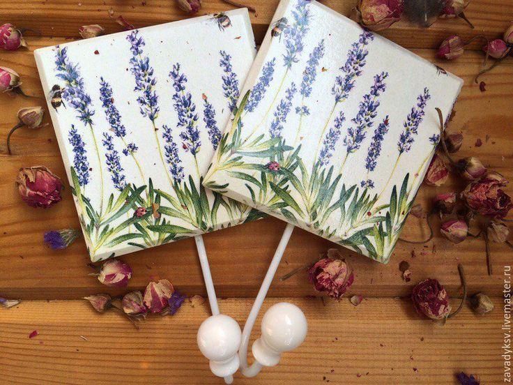 """Купить Вешалка """"Лавандовое поле"""". - синий, лаванда, вешалка, вешалка для кухни, Вешалка для полотенец"""