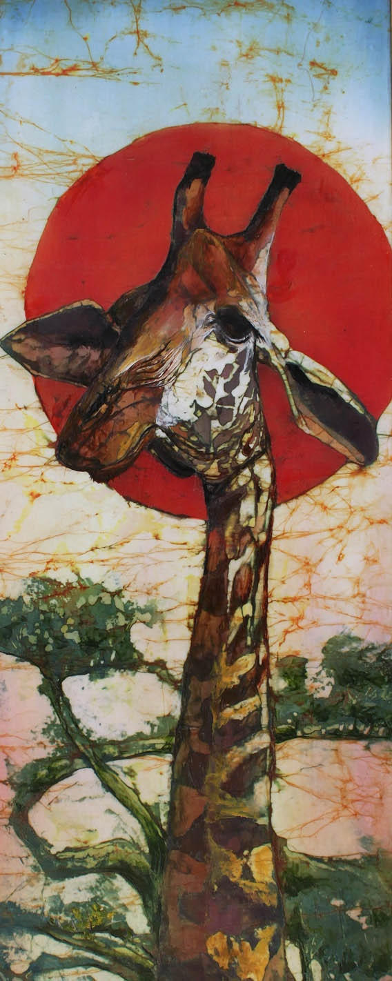 I love her idea of framing the giraffe's head with the red sun. (Batik and Encaustic artwork by Beth Erlund)