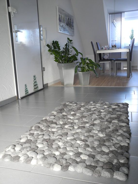 Felt Stone Rug Supersoft Pebbles Gray
