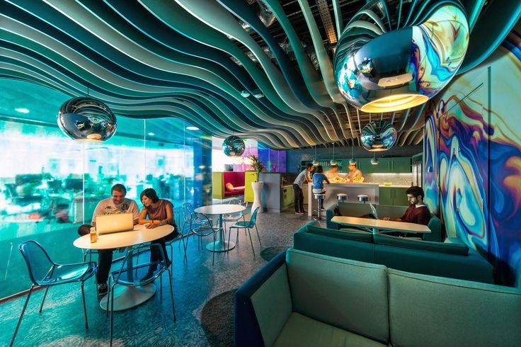 Google Campus Dublin | Gasworks - Microkitchen - Floor Identity: Waterworld #GoogleDublin, #Office, #WallGraphics