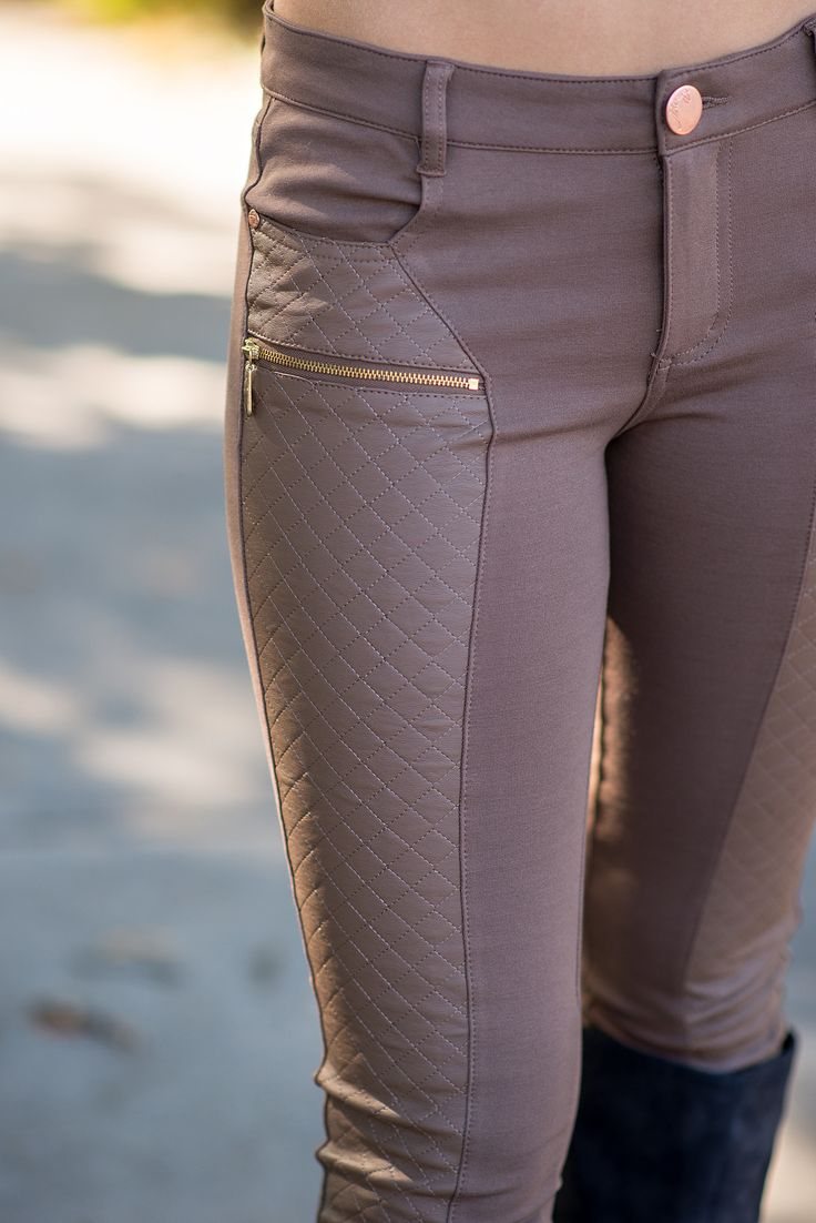 Quilted Leather Zipper Front Leggings (Mocha) - NanaMacs.com - 3