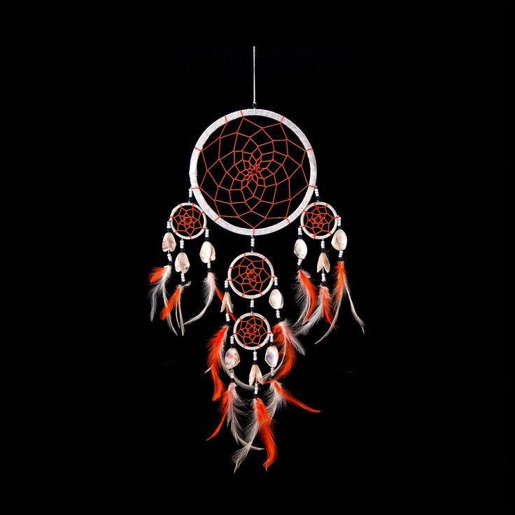 "Dream Catcher ~ White & Orange String Handmade with Sea Shells 6.5"" Diameter & 20"" Long!"