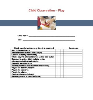 Play Observation Checklist Printable for Child Care - Observations of Children's Play
