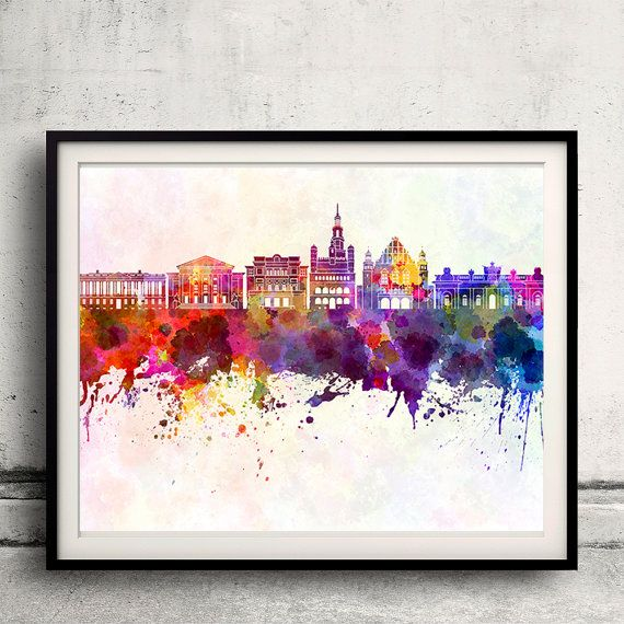 Poznan skyline in watercolor background INSTANT DOWNLOAD 8x10 inches Poster Wall…