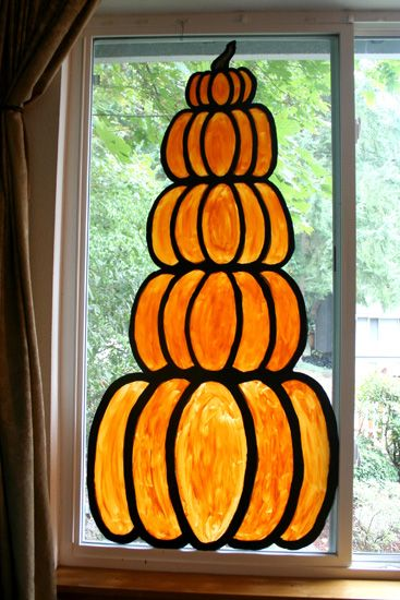 pumpkin window - love this!  Bold and simple and hard to mess up!  All important IMO!