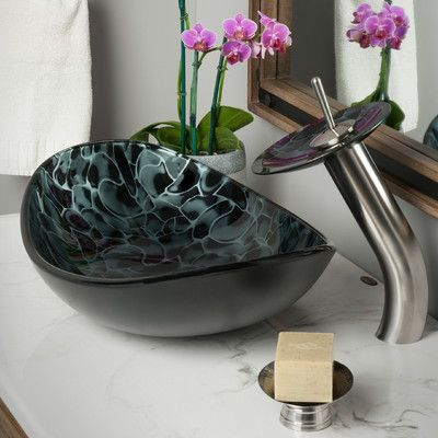 Novatto Tartaruga Oval Glass Vessel Bathroom Sink Set