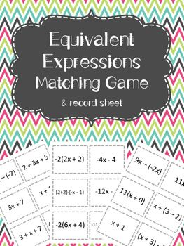 A fun game to practice finding equivalent expressions!  Students will play while simplifying expressions to find matches!   The cards have one variable expressions and students will use the distributive property and combining like terms to find matches!Record sheet, answer sheet, and directions for game are  included!Related activities:Equivalent Expressions PracticeSimplify Expressions Scavenger Hunt