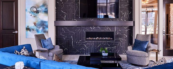 Ravenna Natural Stone Black & White Collection   Marmo Nero  Installed at Solis Ballantyne Apartments - Charlotte, NC.