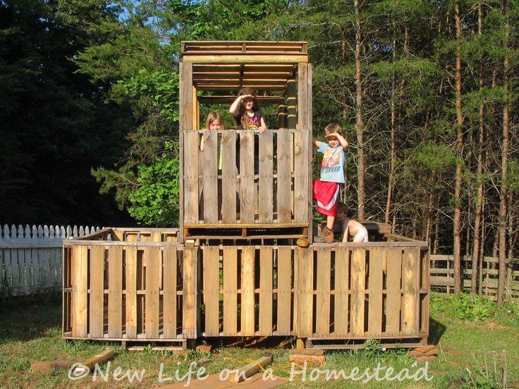 pallet fort: http://newlifeonahomestead.com
