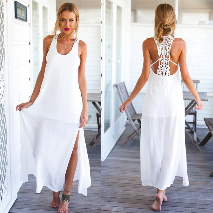 O-neck Sleeveless Chiffon Dress with Side Slit
