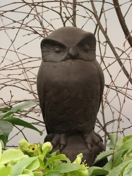Cast Stone Cement Owl Outdoor Garden Statue