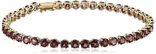14k Yellow Gold and Round Gemstone Tennis Bracelet -- Click image to review more details.