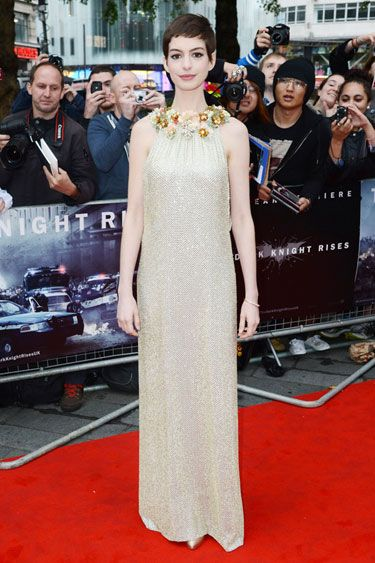 "Anne Hathaway at the London premiere of ""The Dark Knight Rises"""