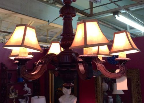 Mahogany Six Light Chandelier  $725  Butler Creek Antiques Dealer #8804  Lucas Street Antiques 2023 Lucas Dr. Dallas, TX 75219