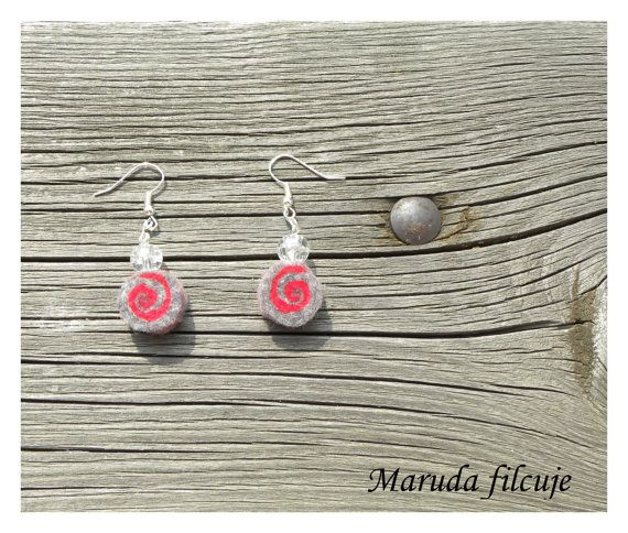 Earrings - unique felted rolls ,99, grey felt, very light, colorful earrings, unique pattern, gift for her, red grey earrings,