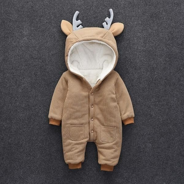 Lovely Deer Fleece-lined Long Sleeve Jumpsuit for Baby