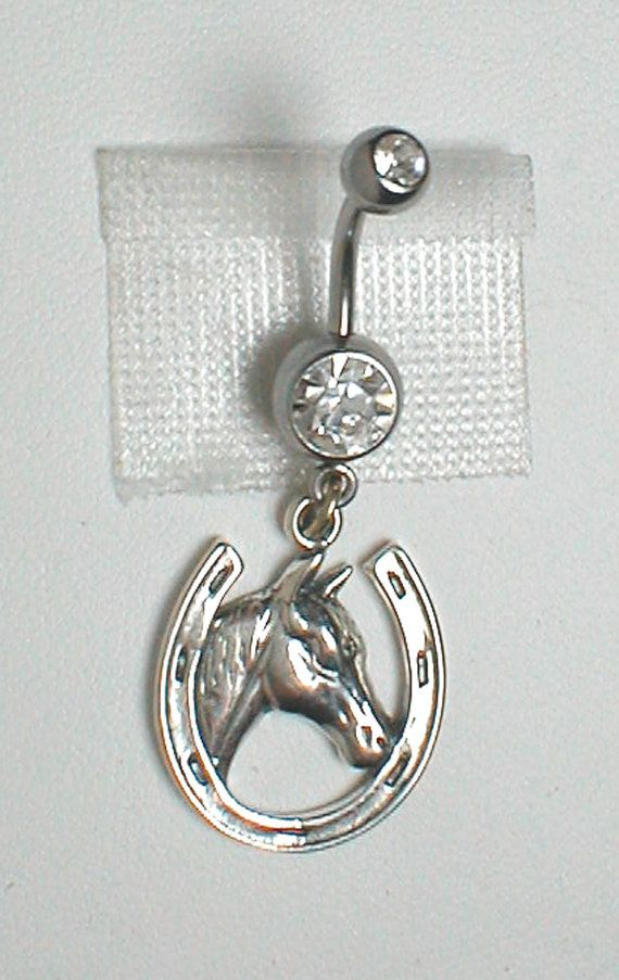 Unique Belly Ring - Sterling SIlver Horse in Horseshoe on Etsy, $24.95