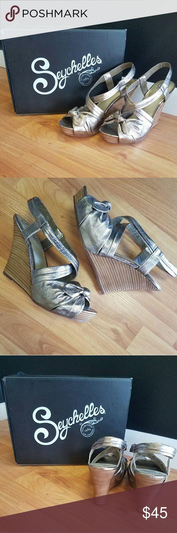 Seychelle Metallic Wedges Barely worn, Seychelle Metallic Wedges, size 10! Heels come with box. 4.5 in heel Seychelles Shoes Wedges