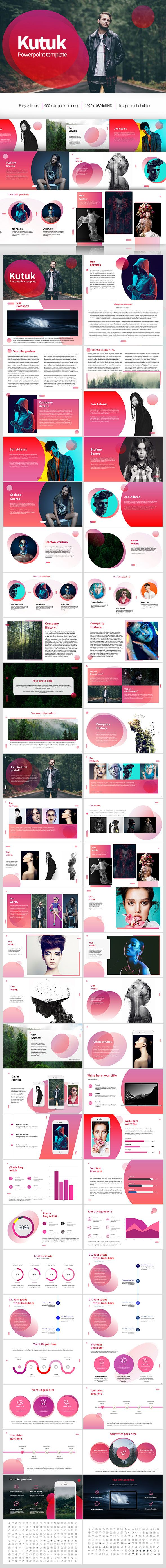 Kutuk Powerpoint Presentation Kutuk, modern and clean presentation template.  Support:  ceo@azadsultanov.com  Features: —-—-—-—-—-—-—-—-—-—-—-—-—-—-—-—-—-—- - FULL HD 16:9 ASPECT RATIO  - Easy and fully editable in PowerPoint (shape colour, size, position, etc)  - 400 easy editable font icons kit. - IMAGE PLACEHOLDER READY - Easy editable data driven charts (pie, bar, line)  - Effective infographics with creative visualisation - All world maps - Device Mockups Included .