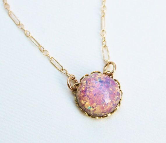 Vintage Glass Fire Opal Necklace  14K Gold by HangingByAThreadKids, $32.00 Valentines day is coming... ;)