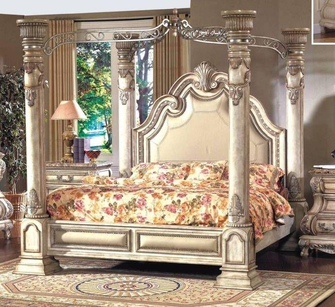 Mcferran B9097 Monaco Blanc Luxury Queen Size Canopy Bedroom Set 3 Pcs Classic B9097 Q Set 3 Buy Online Canopy Bedroom Sets King Bedroom Sets Bedroom Set
