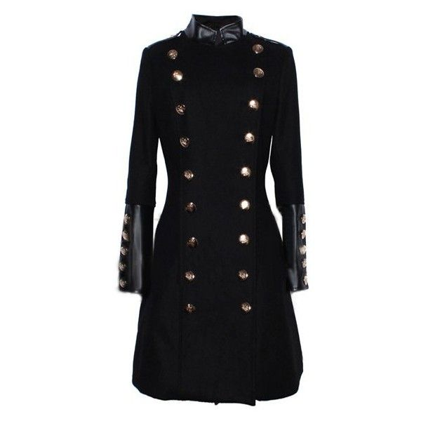Elegant Stand Collar PU Leather Splicing Long Sleeve Coat For Women ($53) ❤ liked on Polyvore featuring outerwear, coats, long sleeve coat, stand collar coat e black coat