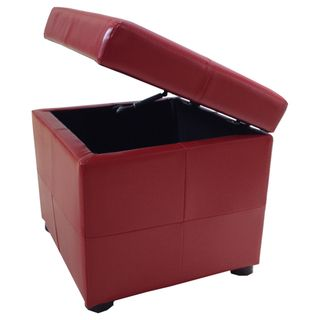 Leatherette Upholstered Storage Cube Ottoman | Overstock™ Shopping - Great Deals on Ottomans
