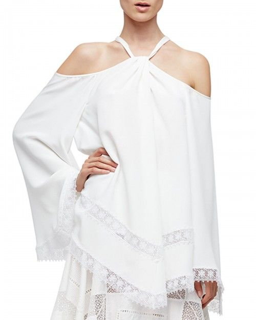 Derek+Lam+Cold+Shoulder+Caftan+Blouse+White+Women's+38+It+2+Us+|+Top+and+Clothing