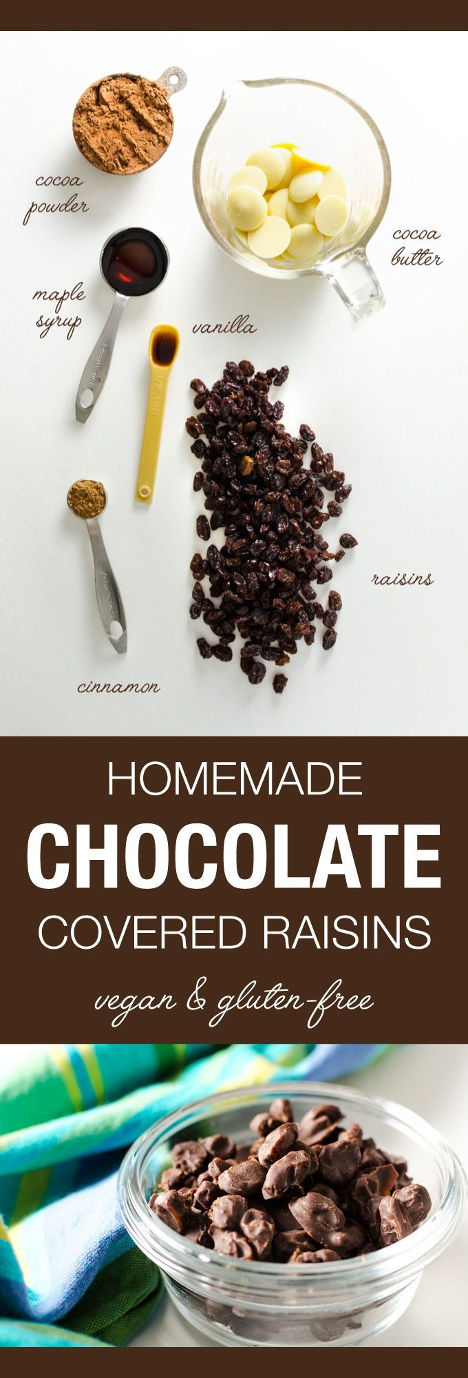 Homemade Chocolate Covered Raisins - this super easy vegan gluten-free recipe combines the pure rich flavor of homemade chocolate with the naturally sweet taste of raisins   VeggiePrimer.com