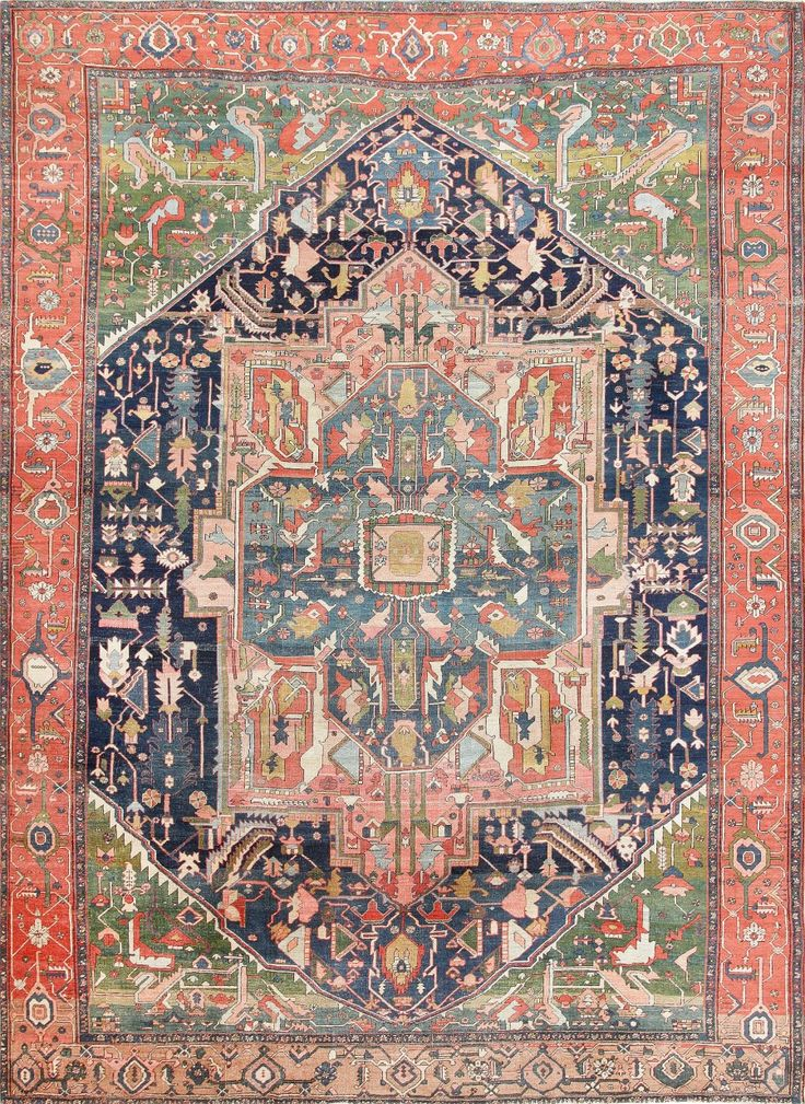antique heriz serapi tribal persian rug main image by nazmiyal