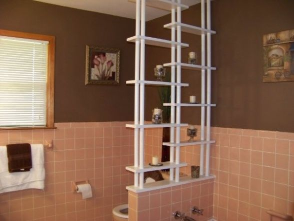 8 best vintage bathroom ideas images on pinterest for Peach tile bathroom ideas