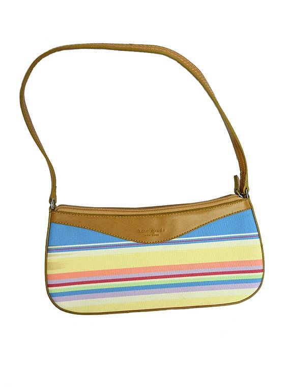 Kate Spade - Multicolour handbag - Shoulder bag - Multicolored stripes - Yellow and blue - Summer style - TheNuLifeShop is on Etsy